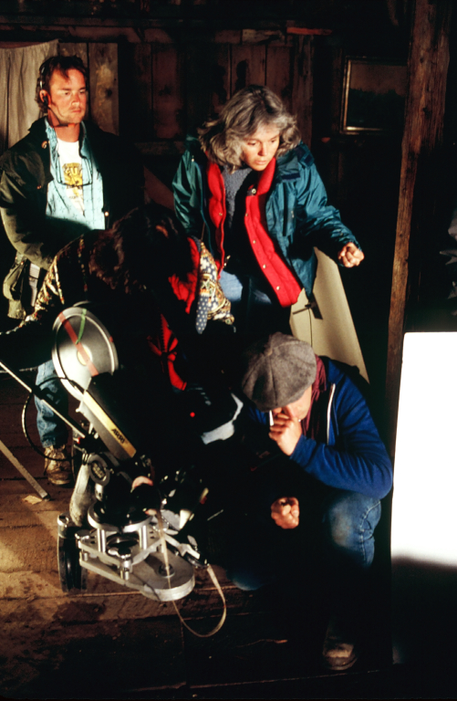 Director Nancy Kelly sets up a shot for THOUSAND PIECES OF GOLD.