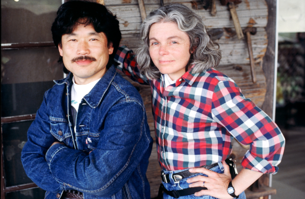 Producer / editor Kenji Yamamoto and producer / director Nancy Kelly on set.