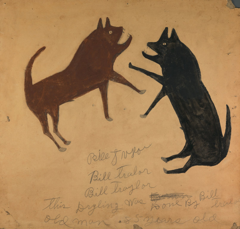 Untitled (Dog Fight with Writing) by Bill Traylor from the collection of the Smithsonian American Art Museum @1994 Bill Traylor Family Trust