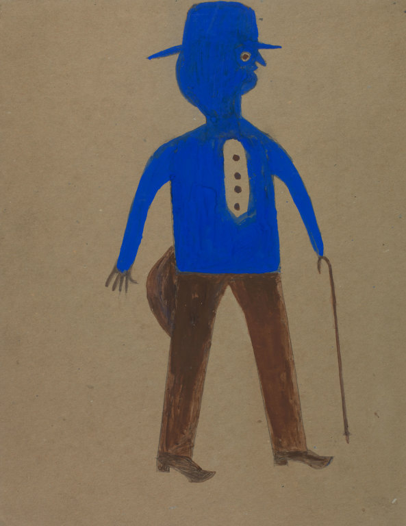 Untitled (Man in Blue and Brown) by Bill Traylor from the collection of the Smithsonian American Art Museum, The Margaret Z. Robson Collection, Gift of John E. And Douglas O. Robson @1994 Bill Traylor Family Trust