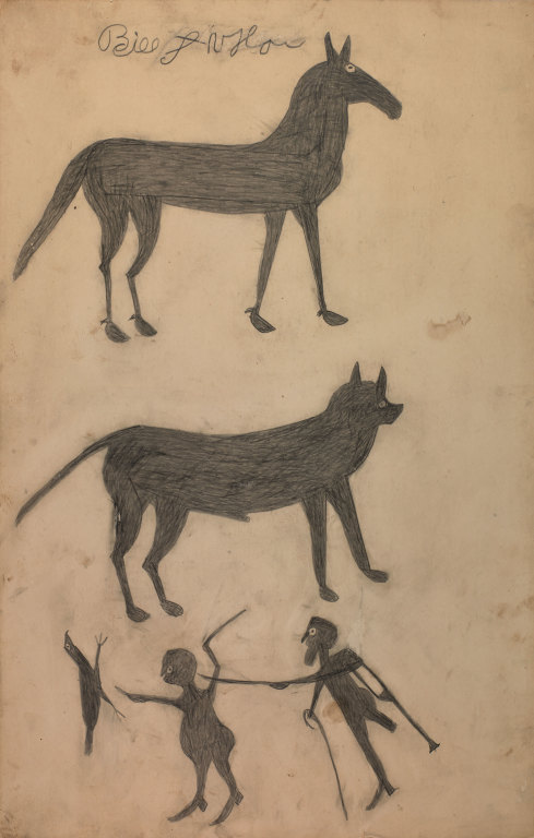Untitled (Mule, Dog, and Scene with Chicken) by Bill Traylor from the collection of the Smithsonian American Art Museum, The Margaret Z. Robson Collection, Gift of John E. and Douglas O. Robson @1994 Bill Traylor Family Trust